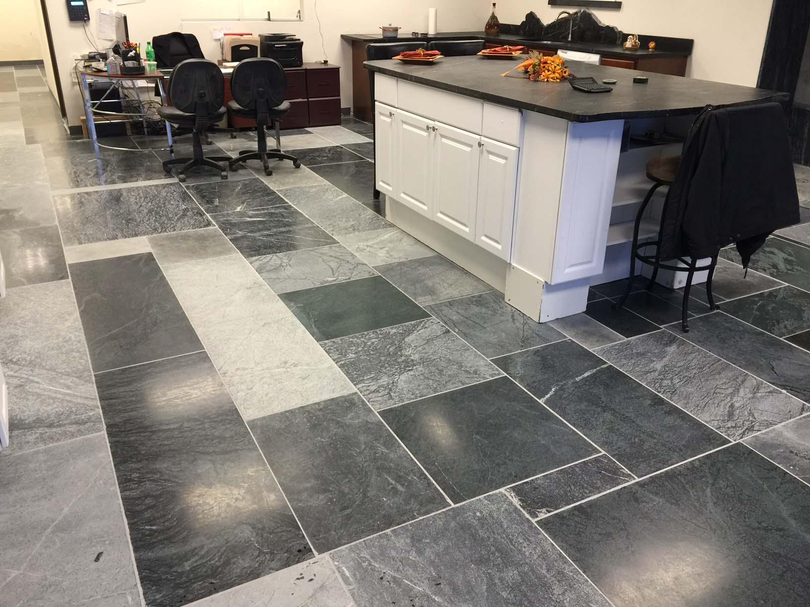 Soapstone floor tile